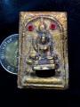 พระสมเด็จ พิมพ์ซ้อน พระพุทธ ลอยองค์ ประดับหินสีแดง ซ้าย ขวา ปิดทองร่องขาติ
