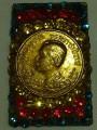 พระสมเด็จ สีเขียว หลัง เหรียญสมเด็จ  ประดับฉัพรรณรังสี ปี๒๔๑๑